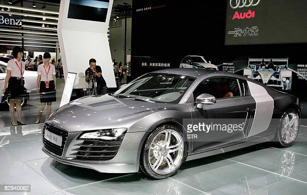 The Audi R8 is displayed an auto show in Chengdu southwest China's Sichuan province on September 21 2008 China's expected growth of between 10 to 15...