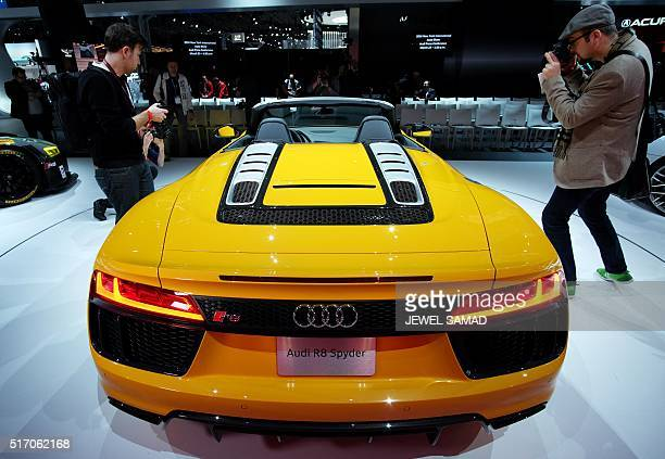 The Audi R8 Spyder is pictured during the New York International Auto Show on March 23 2016 / AFP / Jewel SAMAD
