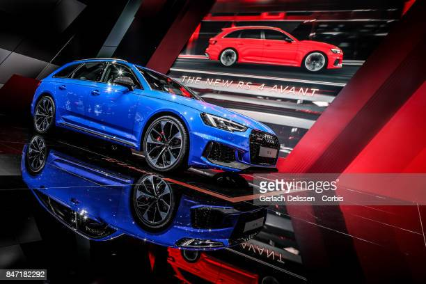 The Audi RS4 Avant on display at the 2017 Frankfurt Auto Show 'Internationale Automobil Ausstellung' on September 13 2017 in Frankfurt am Main Germany