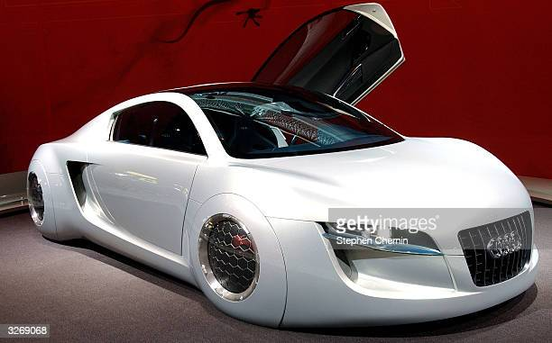The Audi RSQ sports coup is seen on display at the 2004 New York International Auto Show April 8 2004 in New York City The RSQ was designed for the...