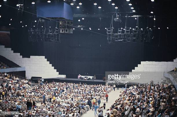 The audience and stage set for a concert on Pink Floyd's The Wall Tour circa 1980