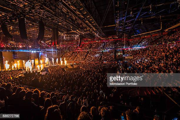 The audience and the stage of Mediolanum Forum during the finale of talent show X Factor Assago Italy 10th December 2015