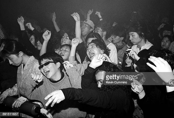 The audience at a concert by British electronic music group 808 State Japan circa 1990
