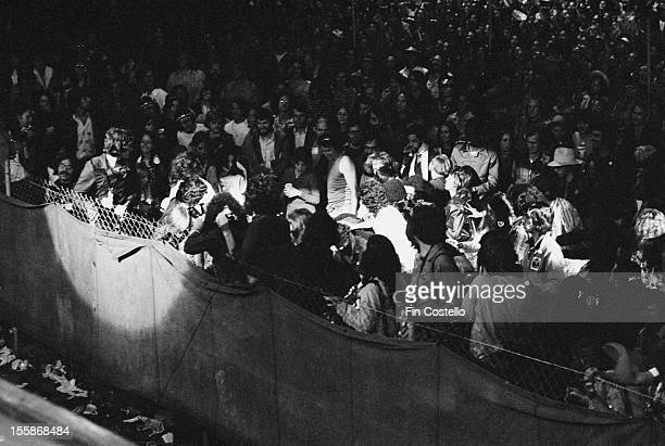 The audience at a concert by English rock group Deep Purple at the California Jam rock festival, Ontario Motor Speedway, Ontario, California, 6th...