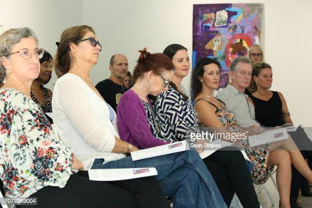 The audience at a panel discussion about An Experience of Color Landscapes and Legacies exhibition at Spanierman Modern gallery in the Miami Design...
