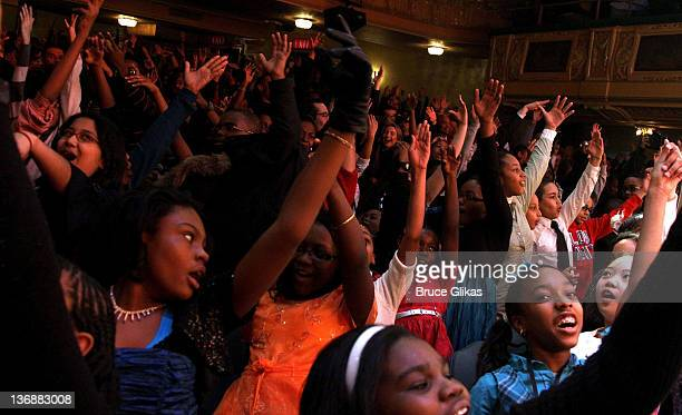 The audience at a special performance of Memphis for Inspire Change presented by Audemars Piguet The Tony Awards Broadway Cares at Shubert Theatre on...