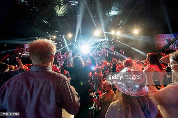 The audience at the Gothenburg semifinal of the 2016 Melodifestivalen rehearses the Ketchup dance dyring the final dress rehearsal in Gothenburg on...