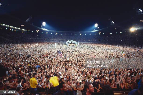 The audience at the Live Aid concert at Wembley Stadium in London 13th July 1985 The concert raised funds for the famine in Ethiopia