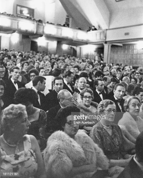 The audience at the opening night of the Glyndebourne Festival Opera in East Sussex, 24th May 1961. Actor Sir John Gielgud is visible in the third...