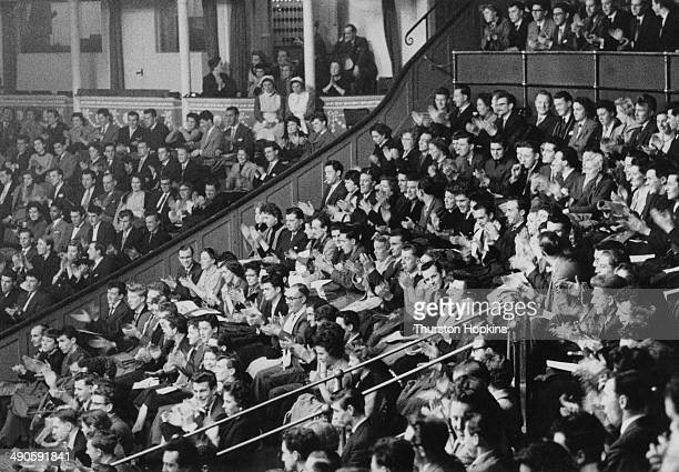 The audience at the Royal Albert Hall in London during a concert by American pianist and Big Band leader Stan Kenton 1956 Original Publication...