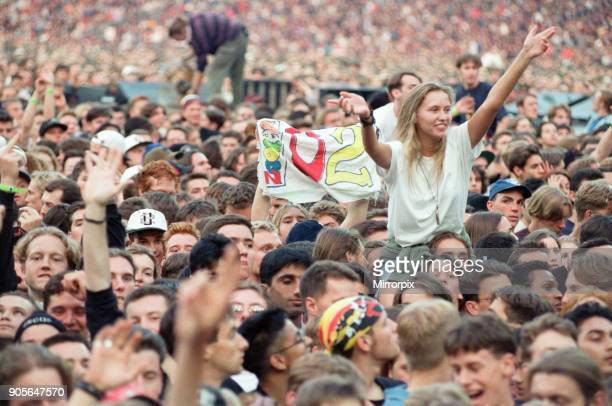 The audience at the U2 in concert Zoo TV Tour Wembley Stadium 11th August 1993