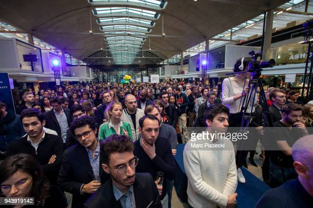 The audience attends the 'LVMH StartUp Accelerator' opening ceremony at 'Station F' on April 9 2018 in Paris France