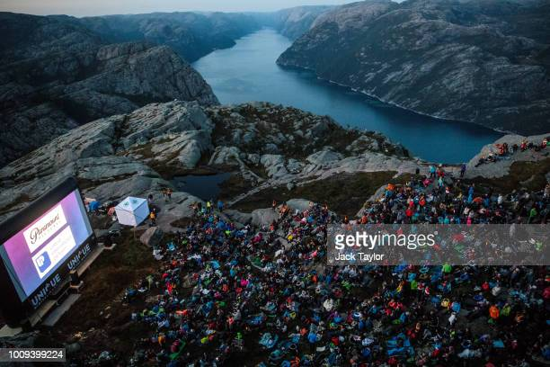 The audience attends the 'Mission Impossible Fallout' Pulpit Rock Norway Screening on August 01 2018 in Forsand Norway