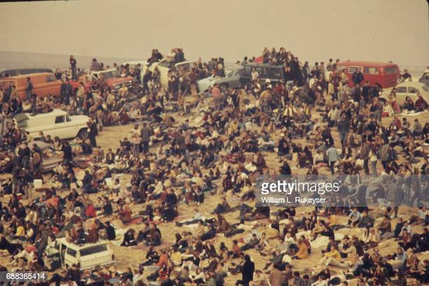 The audience covered the hillside at the Altamont Speedway for the free concert headlined by the Rolling Stones