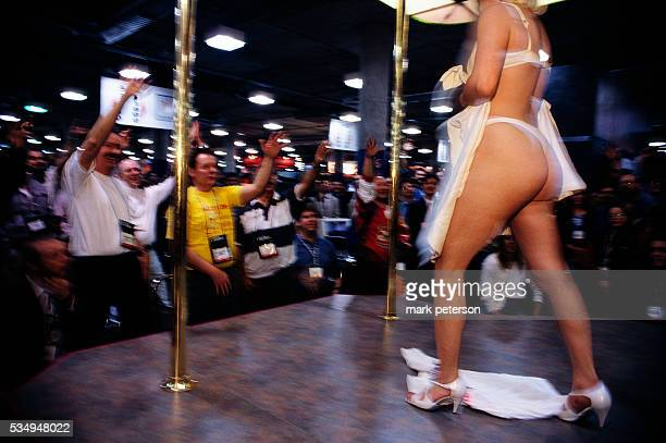 The audience crowds around the stage as an exotic dancer performs at AdultDex an adult entertainment convention that runs along with the Consumer...