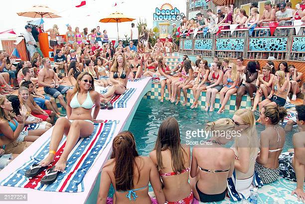 The audience during MTV's Total Request Live at the MTV Beach House June 30 2003 in East Quogue New York