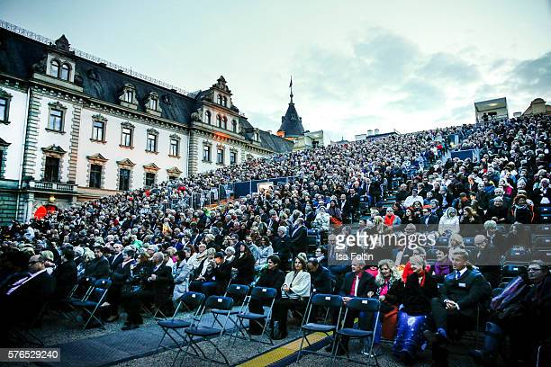 The audience during the Thurn Taxis Castle Festival 2016 'Carmen' Opera Premiere on July 15 2016 in Regensburg Germany