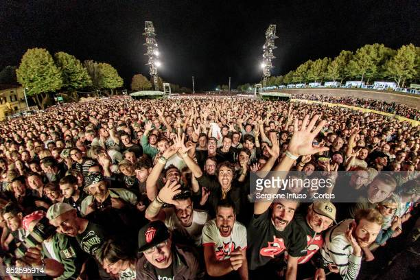 The audience for The Rolling Stones is seen during Lucca Summer Festival 2017 on September 23 2017 in Lucca Italy