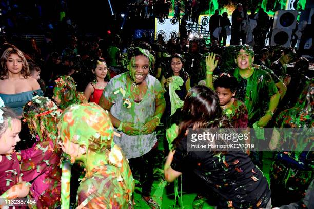 The audience gets slimed at Nickelodeon's 2019 Kids' Choice Awards at Galen Center on March 23 2019 in Los Angeles California