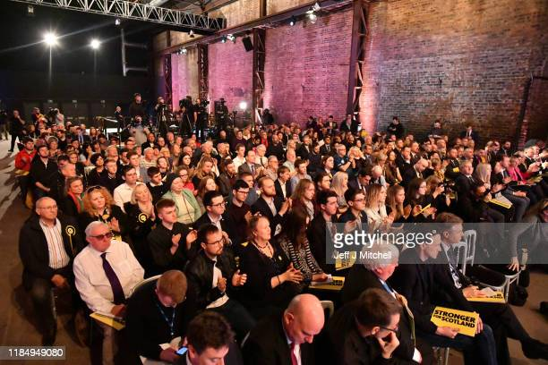 The audience listen to First Minister of Scotland and leader of the Scottish National Party Nicola Sturgeon launch the SNP's general election...