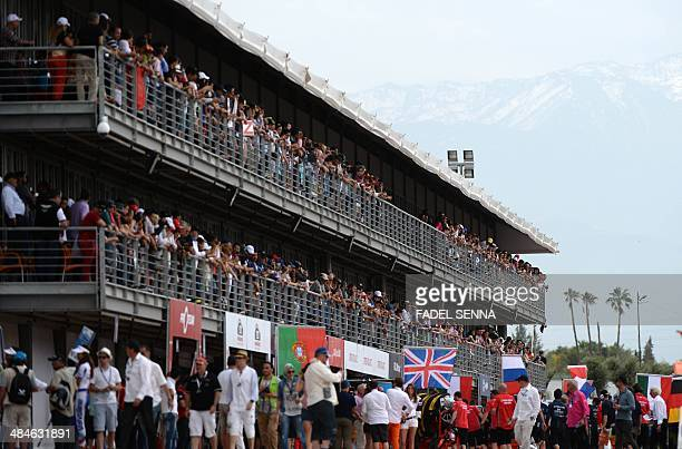 The audience looks at the track during the Marrakech WTCC Fia World Touring Car championship race on April 13 in Marrakesh AFP PHOTO / FADEL SENNA