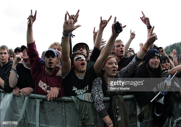The audience performs on day 2 of Rock Im Park at Frankenstadion on June 6, 2009 in Nuremberg, Germany.