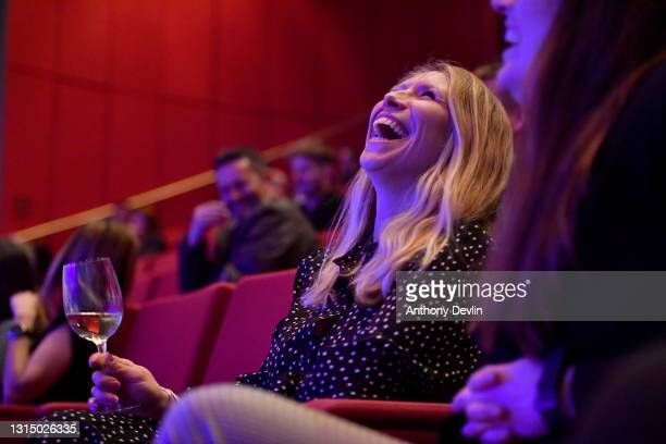 The audience reacts as comedian Kiri Pritchard-McLean performs during a comedy test event at ACC Liverpool on April 28, 2021 in Liverpool, England....