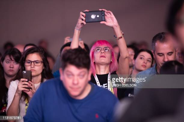 The audience reacts during a keynote session at the annual Game Developers Conference at Moscone Center in San Francisco California on March 19 2019...
