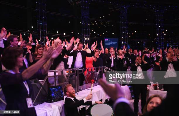 The audience reenact the Iceland team Viking Chant from Euro 2016 during the 2017 Laureus World Sports Awards at the Salle des EtoilesSporting Monte...