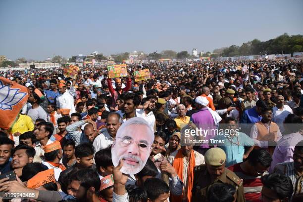 The audience seen during Public rally of Prime Minister Narendra Modi on March 8 2019 in Kanpur India Ahead of the Lok Sabha elections Prime Minister...