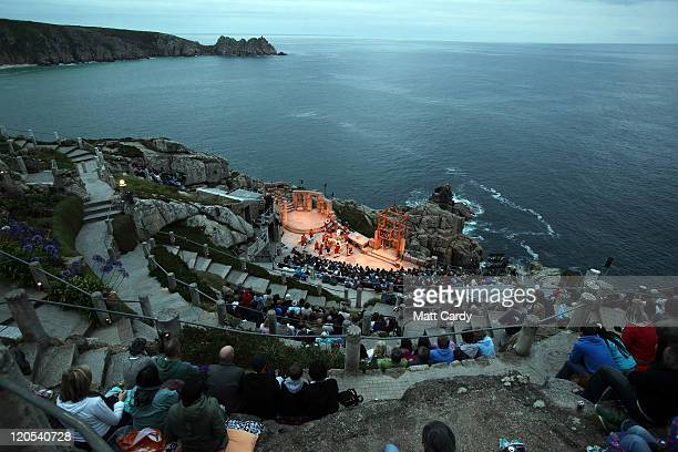 The audience watch Cyrano De Bergerac presented by Shattered Windscreen Theatre Company at the Minack Theatre on August 5 2011 in Porthcurno England...