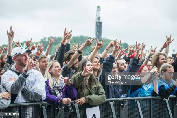 The audience watch on as Avatar performs onstage at Download Festival 2018 at Donington Park on June 8 2018 in Donington England