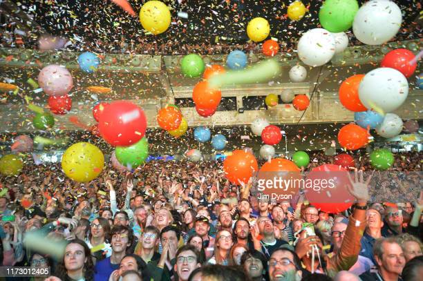 The audience watch the Flaming Lips performs live on stage at Brixton Academy on September 07, 2019 in London, England.