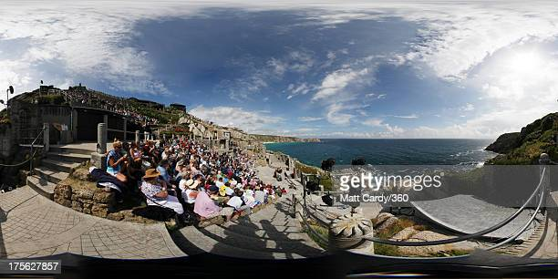 The audience watch Wuthering Heights presented by Ilkley Playhouse at the Minack Theatre on August 2 2013 in Porthcurno near Penzance Cornwall The...