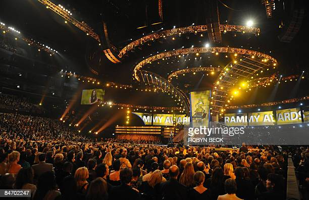 The audience watches a performance during the 51st annual Grammy awards held at the Staples Center in Los Angeles on February 8 2009 AFP PHOTO/Robyn...