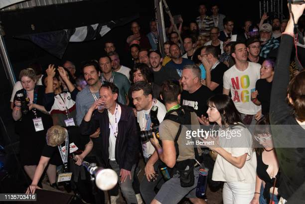 The audience watches Fontaines D.C. Perform live on stage during the 2019 SXSW Conference and Festival at the Swan Dive on March 13, 2019 in Austin,...