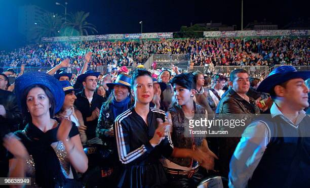 The audience watches the 2010 Drag Queen Show gala at Las Palmas de Gran Canaria in Parque Catalina on February 12 2010 in Las Palmas Spain