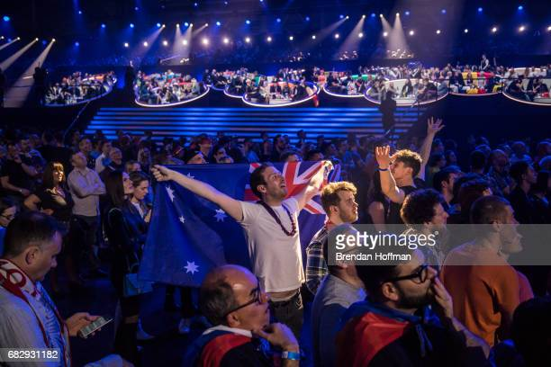 The audience watches the screen as they wait for results at the Eurovision Grand Final on May 14 2017 in Kiev Ukraine Ukraine is the 62nd host of the...