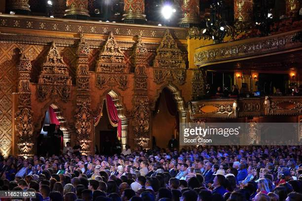 The audience watches the start of the beginning of the Democratic Presidential Debate at the Fox Theatre July 30, 2019 in Detroit, Michigan. 20...