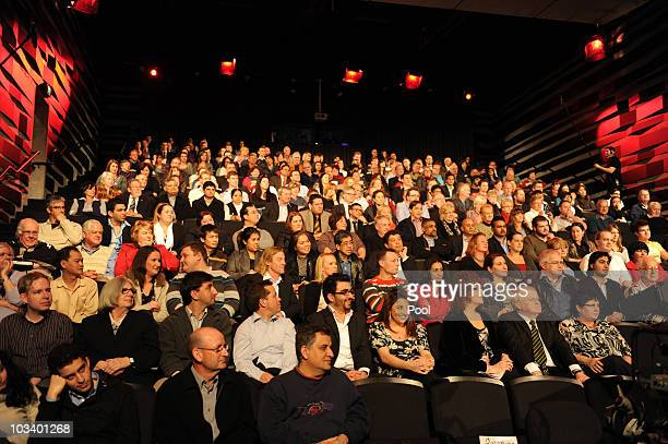 The audience watching federal opposition leader Tony Abbott during the ABC's Q A television program at the Casula Powerhouse on August 16 2010 in...