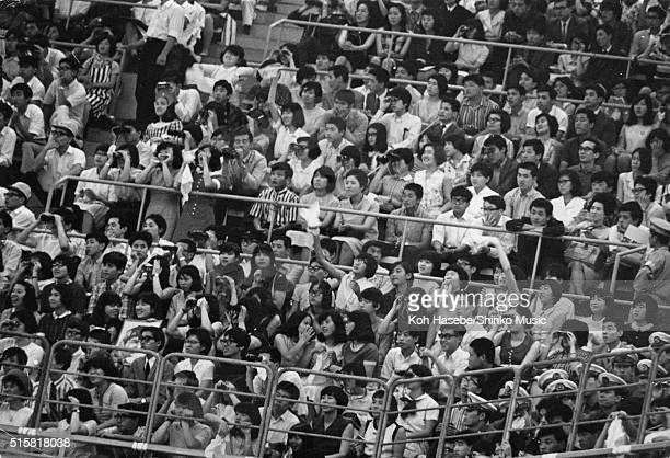 The audience watching The Beatles at the Budokan Tokyo Japan July 2 1966