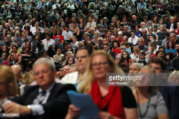 The auditorium listens as Shadow Secretary of State for Business Energy and Industrial Strategy Rebecca LongBailey speaks in the main hall on day...