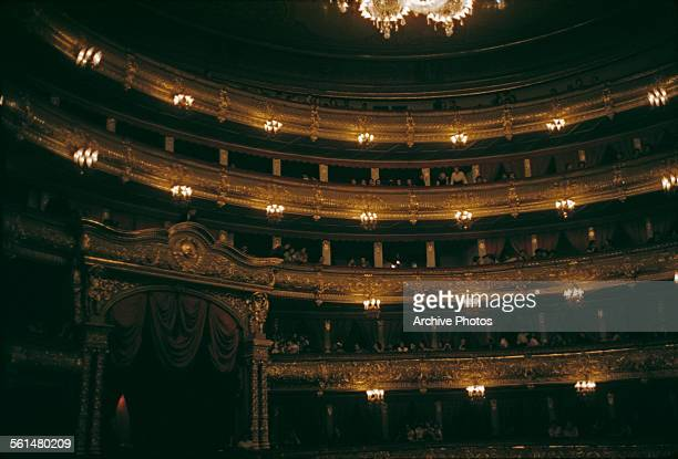 The auditorium of the Bolshoi Theatre in Moscow, Russia, August 1959.