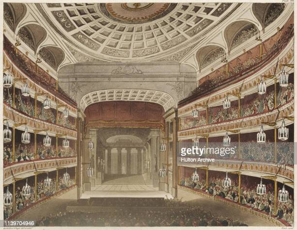 The auditorium of the new Royal Opera House in Covent Garden, London, circa 1810. The previous building burnt down in 1808. Aquatint by Black,...