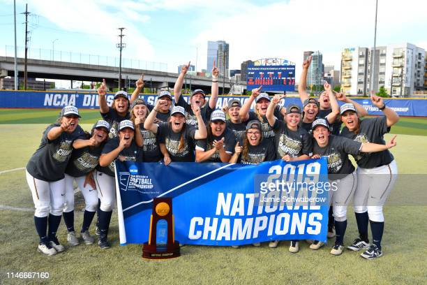 The Augustana Vikings celebrate their victory against the Texas AMKingsville Javelinas during the Division II Women's Softball Championship held at...