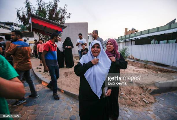 The aunt of slain 15yearold Palestinian Ahmed Abu Habel who was killed during clashes with Israeli forces near the Erez border crossing with Israel...
