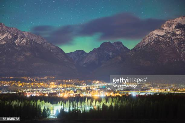 The Aurora Borealis behind Cougar Peak above Canmore, Bow Valley, Alberta, Canada