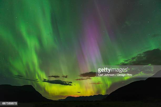 the aurora borealis fills the sky over the chugach and kenai mountains, southcentral alaska - kenai mountains stock pictures, royalty-free photos & images