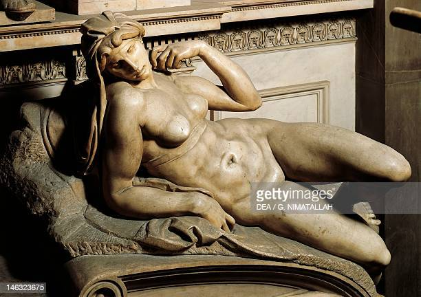 The Aurora detail from the tomb of Lorenzo de' Medici 15251534 by Michelangelo marble sculpture Medici Chapel of the Church of San Lorenzo in...