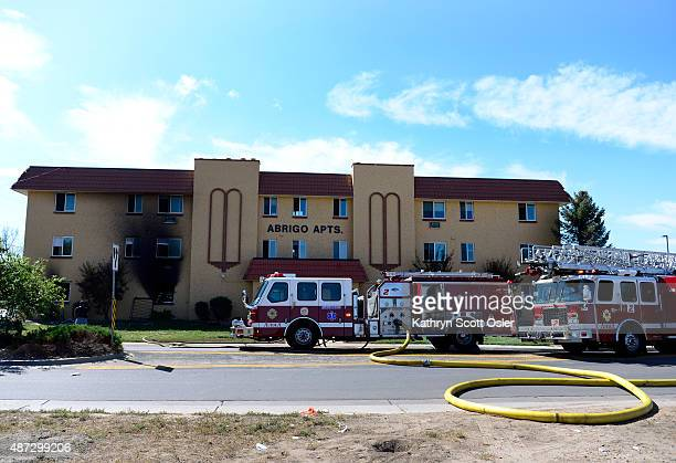 The Aurora Fire Department responds to a twoalarm fire at the Abrigo Apartments in Aurora which sent three people including an Aurora police officer...